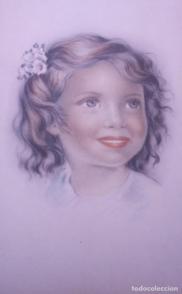 Postales: 8 postales años 50 niñas dibujadas colores pastel Serie 600 Muy buen estado 14x9 Impresas en España - Foto 2 - 146424062
