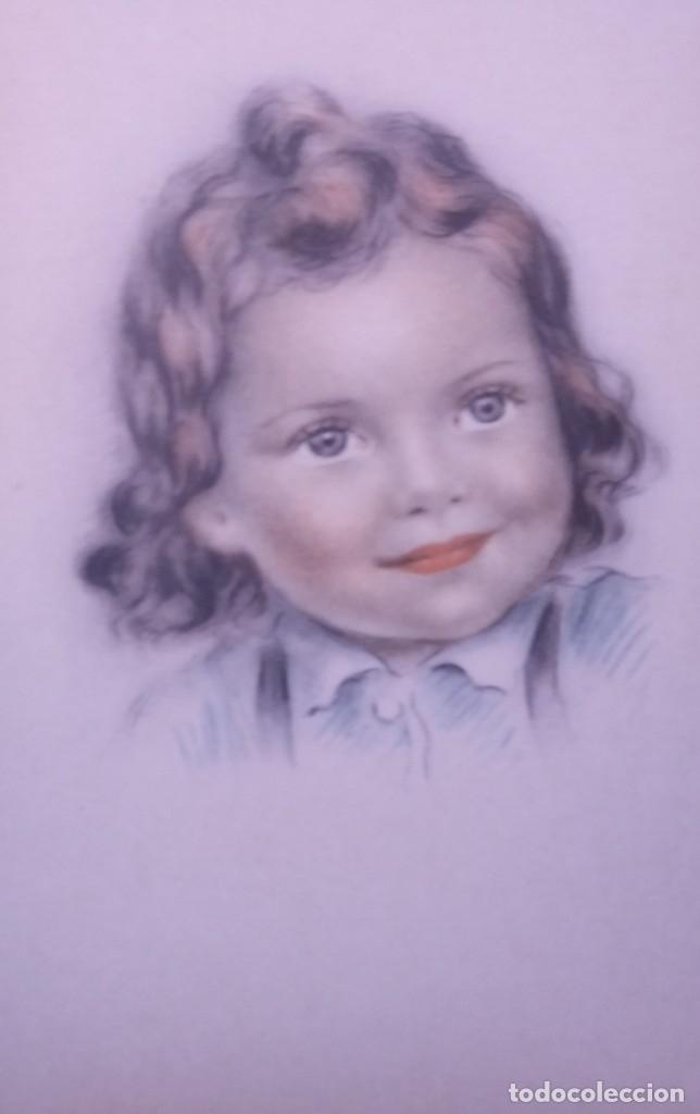 Postales: 8 postales años 50 niñas dibujadas colores pastel Serie 600 Muy buen estado 14x9 Impresas en España - Foto 8 - 146424062