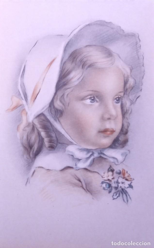 Postales: 8 postales años 50 niñas dibujadas colores pastel Serie 600 Muy buen estado 14x9 Impresas en España - Foto 9 - 146424062