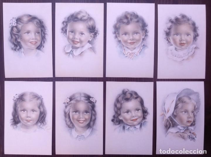 8 POSTALES AÑOS 50 NIÑAS DIBUJADAS COLORES PASTEL SERIE 600 MUY BUEN ESTADO 14X9 IMPRESAS EN ESPAÑA (Postales - Postales Temáticas - Niños)