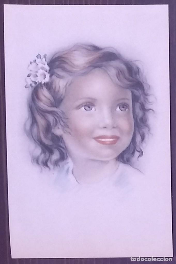 Postal años 50 niña dibujada colores pastel Serie 600 Muy buen estado 14x9 Impresa en España - 146431382