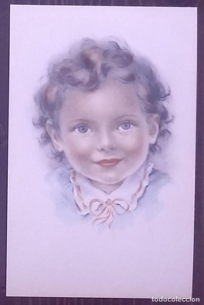 Postales: Postal años 50 niña dibujada colores pastel Serie 600 Muy buen estado 14x9 Impresa en España - Foto 2 - 146431434