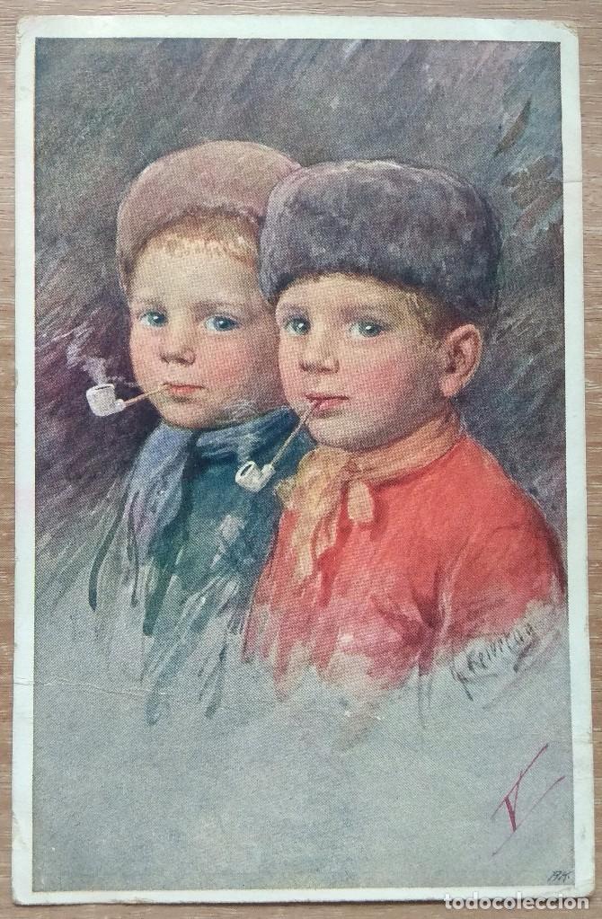 POSTAL DE 1919 DIRIGIDA A LA CONOCIDA EMMA BOUHON NEVES (Postales - Postales Temáticas - Niños)