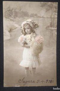 1911 postal niña. Escrita, sin sello.