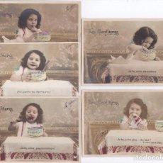 Postales: COLECCION DE 5 POSTALES DE LES CONFITURES DE UNA NIÑA COMIENDO MERMELADA (CIRCULADAS). Lote 148053962