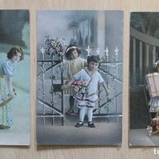 Postales: LOTE DE 3 TARJETAS POSTALES ANTIGUAS NIÑOS (FOTOGRAFÍA & DIBUJO). Lote 148223098