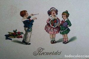 Postal infantil. Niños tocando instrumentos musicales. Recuerdos.