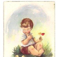 Postales: POSTAL ITALIANA - NIÑO CON NIDO DE PÁJAROS TIPO DIBUJO - CYZ Nº518/B - ESCRITA. Lote 152836446