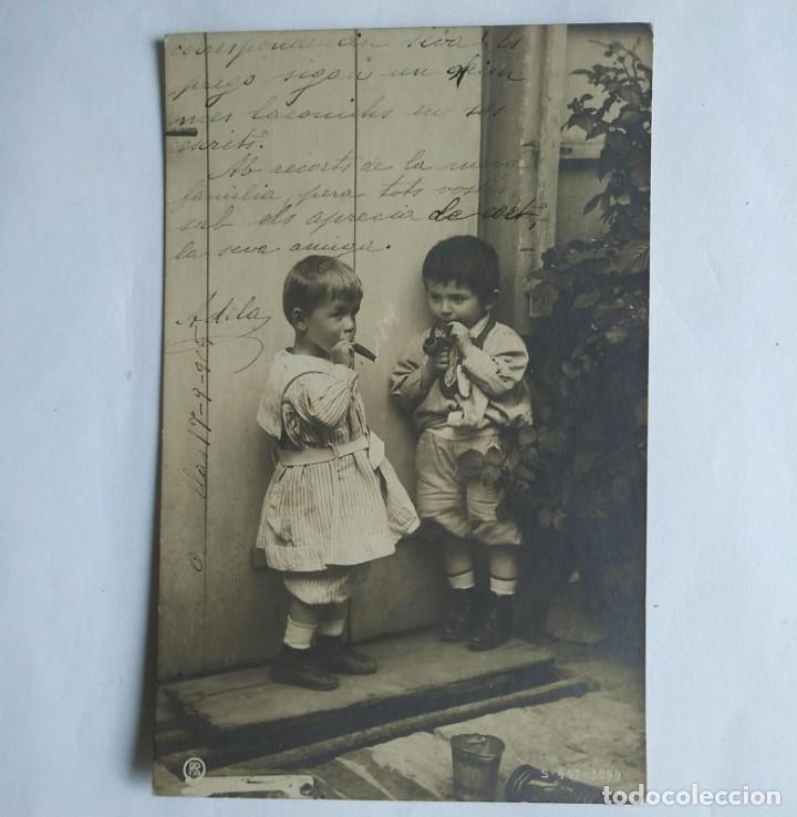Postales: 1905 Niños fumando puros y pipa. Postal antigua circulada 17/09/1905 - Foto 2 - 139167914