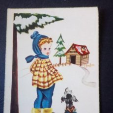 Postales: COLEGIO, NEVADA NIÑA Y PERRO. Lote 190690157