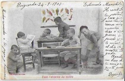 P-9201. POSTAL FOTOGRAFICA, DANS L' ABSCENCE DU MAITRE. 1903. (Postales - Postales Temáticas - Niños)