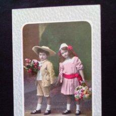 Postales: ANTIGUA POSTAL NIÑOS ESCRITA. Lote 160986902