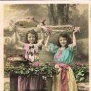 Postales: NIÑA PESCATERAS, CIRCULADA EN 1909, VER EL DORSO. Lote 167829176