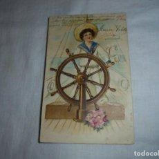 Postales: POSTAL NIÑO AL TIMON.FECHADA 1908.CIRCULADA EL CALEYO OVIEDO-PIRINEOS. Lote 169025008