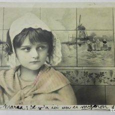 Postales: POSTAL, NIÑA CON GORRO, CIRCULADA CON SELLO BALNEARIO DE CESTONA, AÑO 1905. Lote 170821165