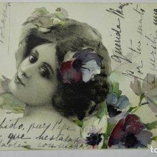 Postales: POSTAL, SEÑORITA CON FLORES EN EL PELO, CIRCULADA SELLO CADIZ, AÑO 1906. Lote 170823960