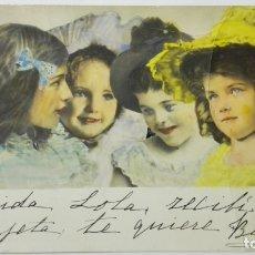 Postales: POSTAL COLOREADA, 4 NIÑAS, CIRCULADA SELLO CADIZ, AÑO 1906. Lote 170824600