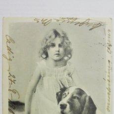 Postales: POSTAL, NIÑA CON PERRO, CIRCULADA CADIZ, AÑO 1904. Lote 170829205