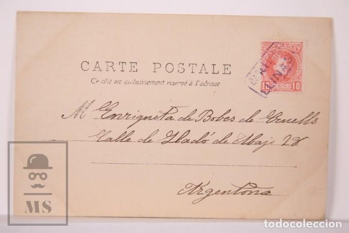 Postales: Postal Fotográfica Niñas Durmiendo con Muñecas y Juguetes - Matasellos Barcelona / Llinás, 1903 - Foto 4 - 170931785