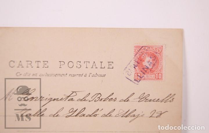 Postales: Postal Fotográfica Niñas Durmiendo con Muñecas y Juguetes - Matasellos Barcelona / Llinás, 1903 - Foto 5 - 170931785