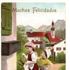Postales: PRECIOSA POSTAL DEFELICITACIÓN CON NIÑOS MUY ANTIGUA MANUSCRITA. Lote 171255012
