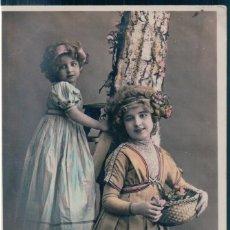 Postales: POSTAL BONNE ANNEE - NIÑAS CON CESTOS DE FLORES - CIRCE 4773. Lote 172761284