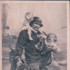 Postales: POSTAL LE PASSEUR - UN PESCADOR CON NIÑOS - SIN DIVIDIR. Lote 173080302