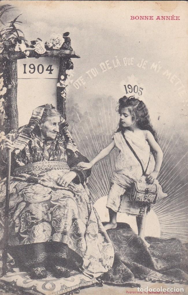 BONNE ANNÉE 1904 1905 PRINCIPIOS SIGLO POSTAL FRANCIA CIRCULADA (Postales - Postales Temáticas - Niños)