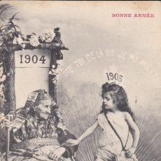 Postales: BONNE ANNÉE 1904 1905 PRINCIPIOS SIGLO POSTAL FRANCIA CIRCULADA. Lote 173458453