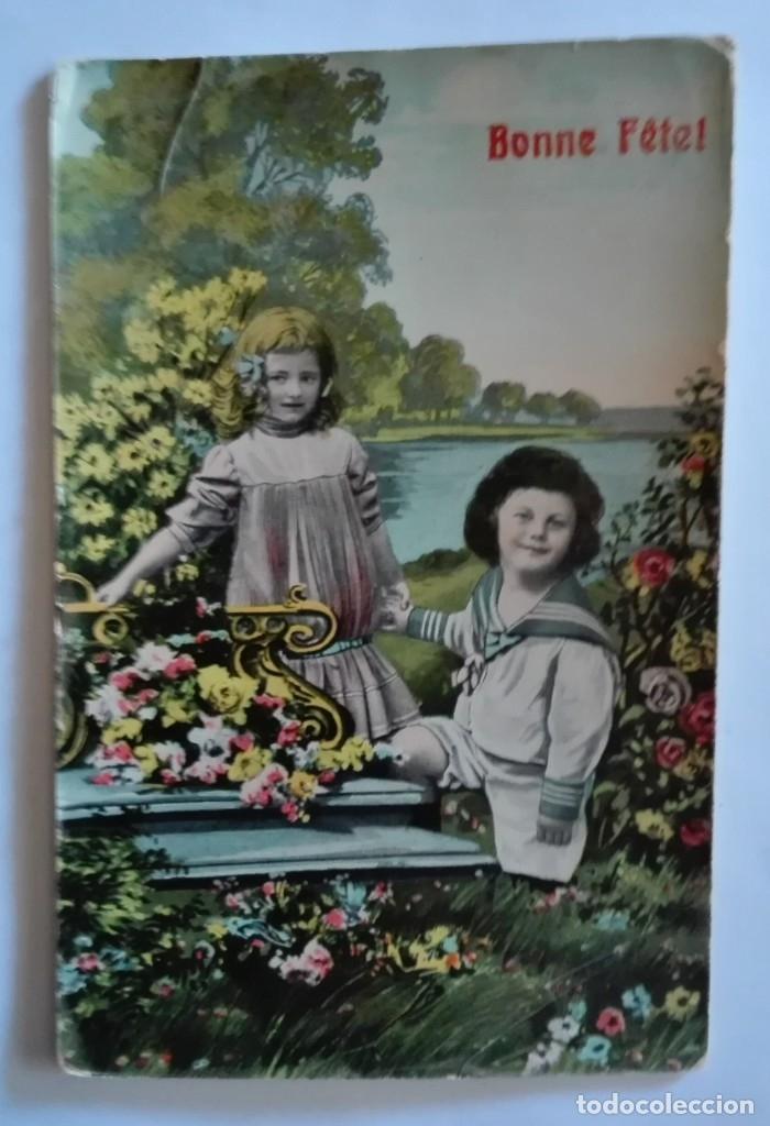 ANTIGUA FOTO POSTAL COLOREADA CIRCULADA CON SELLO EN 1909 (Postales - Postales Temáticas - Niños)
