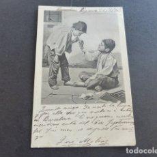 Postales: NIÑOS FUMANDO POSTAL 1903. Lote 175110763