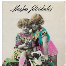 Postales: POSTAL COLOREADA DE DOS NIÑAS Y UN PERRO AÑO 1929 - EDITA RAPIDO S.1360, MADRID. Lote 175125548