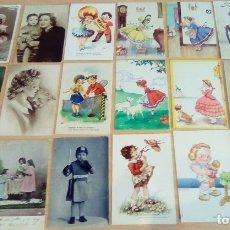 Postales: LOTE DE 18 POSTALES Y FOTOS ANTIGUAS TEMA NIÑOS. Lote 176108445