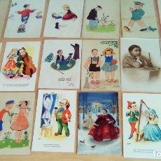 Postales: LOTE DE 18 POSTALES Y FOTOS ANTIGUAS TEMA NIÑOS. Lote 176108695