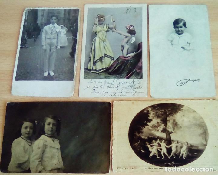 LOTE DE 5 POSTALES Y FOTOS ANTIGUAS TEMA NIÑOS (Postales - Postales Temáticas - Niños)