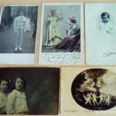 Postales: LOTE DE 5 POSTALES Y FOTOS ANTIGUAS TEMA NIÑOS. Lote 176108930