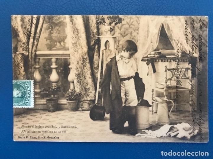 ANTIGUA POSTAL SERIE C NIÑO LA TOILETTE DE LUISIN N 8 E GONZALEZ HAUSER Y MENET SIN DIVIDIR 1903 (Postales - Postales Temáticas - Niños)