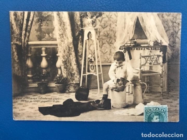 ANTIGUA POSTAL SERIE C LA TOILETTE DE LUISIN N 7 E GONZALEZ HAUSER Y MENET SIN DIVIDIR 1903 (Postales - Postales Temáticas - Niños)