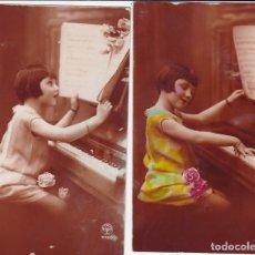Postales: 2 POSTALES NIÑA TOCANDO EL PIANO (SIN CIRCULAR) POSTALES DE FRANCIA. Lote 176761022