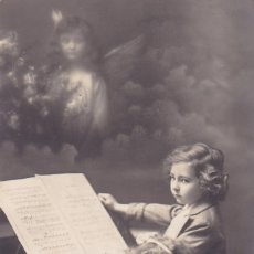 Postales: NIÑAS TOCANDO EL PIANO CIRCULADA 1914 BARCELONA . Lote 176761680