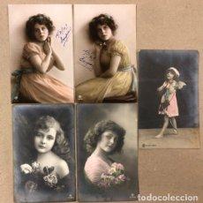 Postales: LOTE 5 TARJETAS POSTALES ROMÁNTICAS COLOREADAS, P.R.A. N° 1980/4, 1980/5, 3579/3, 3636/5 Y S•664-632. Lote 177826553