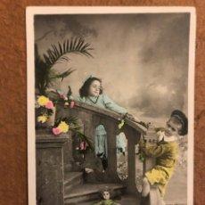 Postales: ANTIGUA TARJETA POSTAL COLOREADA. S. J. R. N° 711. CIRCULADA EN 1910. NIÑOS. 8,7 X 13,7 CMS.. Lote 177846289