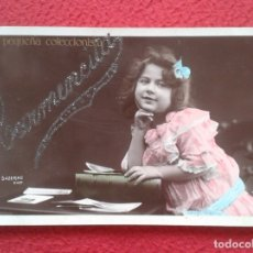 Postales: ANTIGUA TARJETA POSTAL POST CARD CARMENCITA NIÑA LA PEQUEÑA COLECCIONISTA SAZERAC PHOT. ESCRITA, VER. Lote 178172796