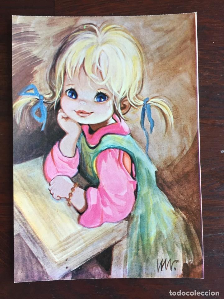 Postales: Lote de 4 tarjetas postales con dibujos infantiles de niños y niñas de la década de los años 80´s. - Foto 2 - 178269037