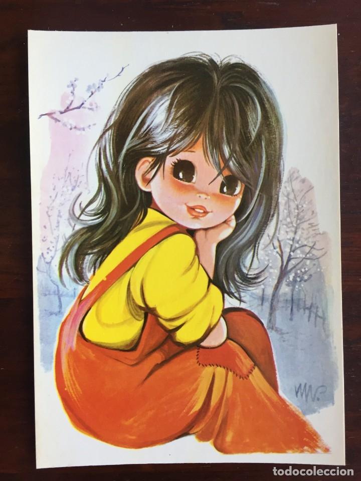 Postales: Lote de 4 tarjetas postales con dibujos infantiles de niños y niñas de la década de los años 80´s. - Foto 3 - 178269037