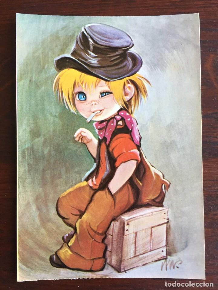 Postales: Lote de 4 tarjetas postales con dibujos infantiles de niños y niñas de la década de los años 80´s. - Foto 4 - 178269037