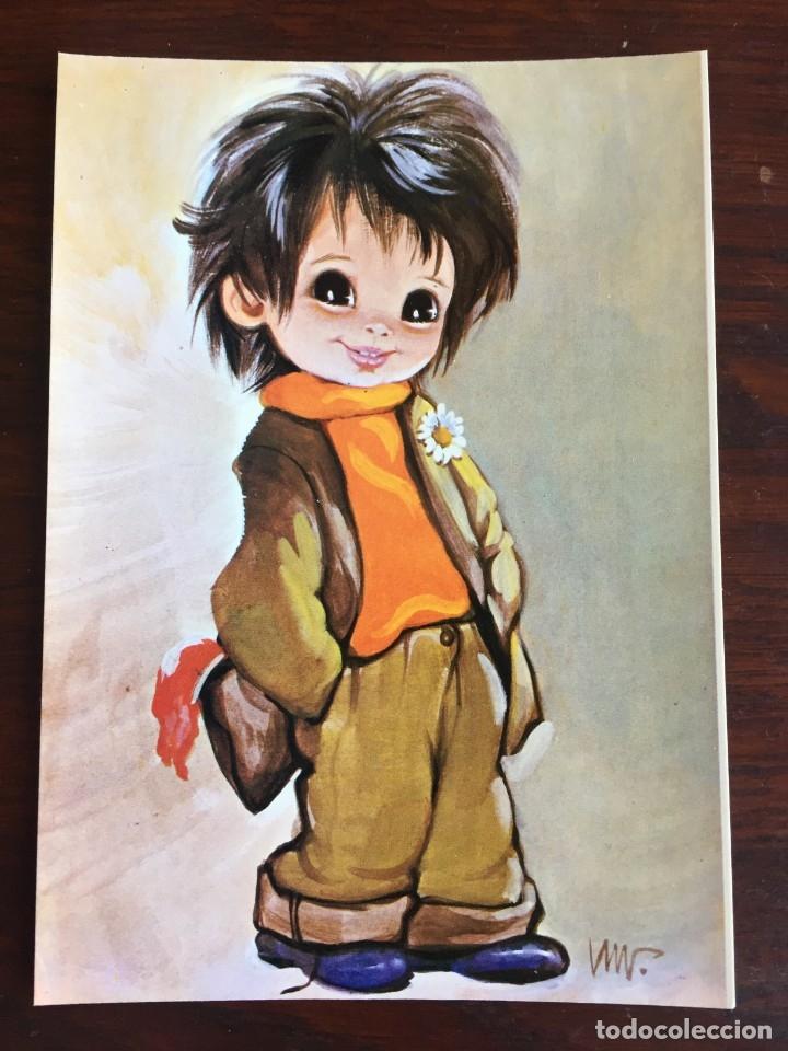 Postales: Lote de 4 tarjetas postales con dibujos infantiles de niños y niñas de la década de los años 80´s. - Foto 5 - 178269037