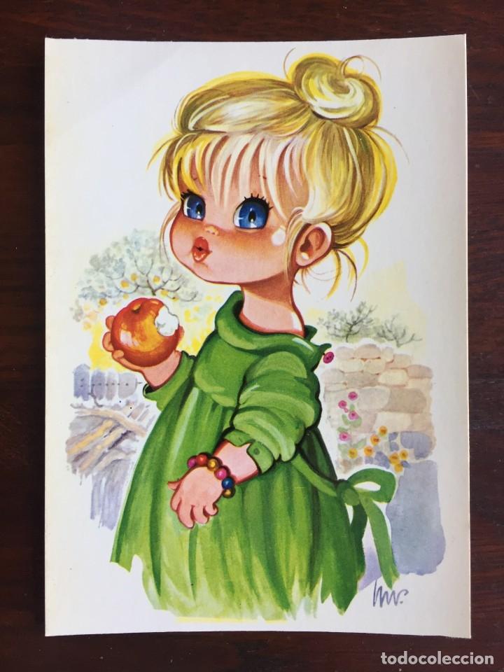 Postales: Lote de 4 tarjetas postales con dibujos infantiles de niños y niñas de la década de los años 80´s. - Foto 2 - 178269962