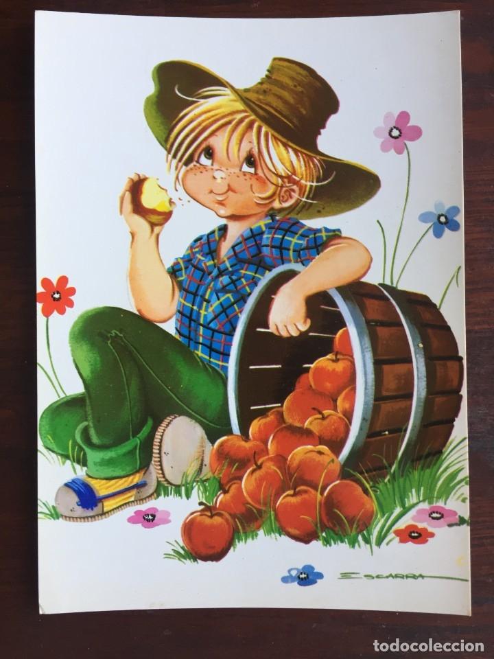 Postales: Lote de 4 tarjetas postales con dibujos infantiles de niños y niñas de la década de los años 80´s. - Foto 3 - 178269962