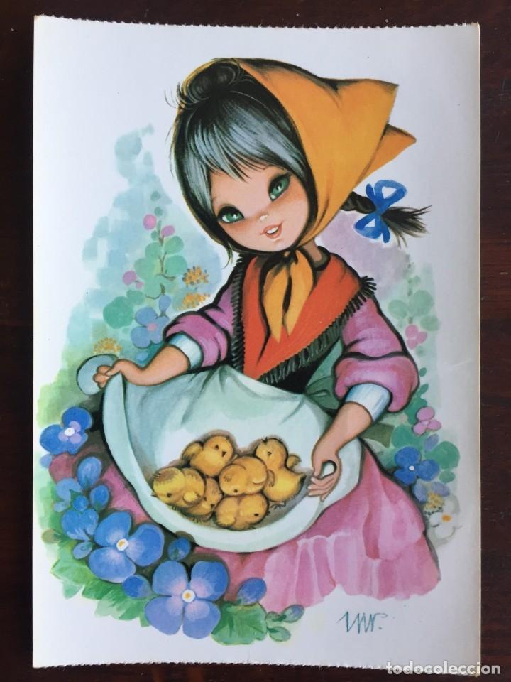 Postales: Lote de 4 tarjetas postales con dibujos infantiles de niños y niñas de la década de los años 80´s. - Foto 4 - 178269962